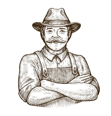 Happy farmer in the hat. Vintage sketch Reklamní fotografie