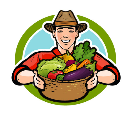 Happy farmer holding a wicker basket full of fresh vegetables.