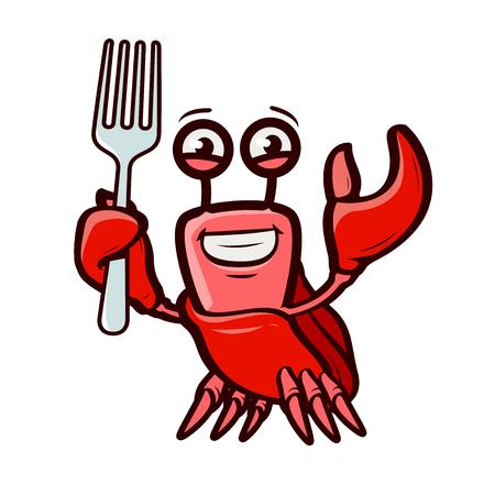 Funny crab holds fork.