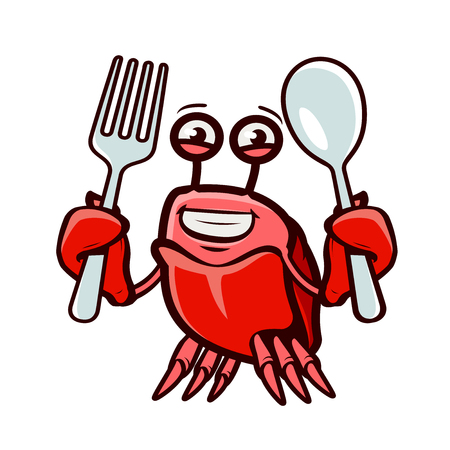 Crab holds fork and spoon.