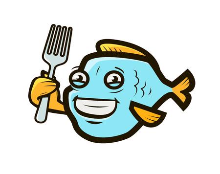 Funny fish holding fork. Ilustrace