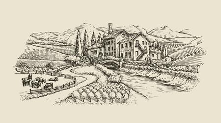 paesaggio di fattoria, schizzo del villaggio. vettore vintage disegnato a mano