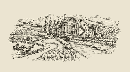 paysage de ferme, croquis de village. vecteur vintage dessiné à la main