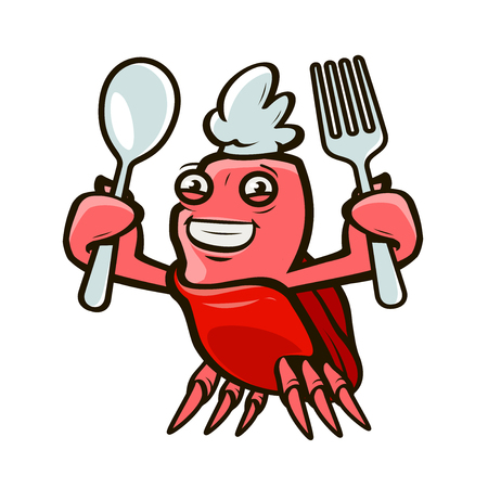 Cute crab holding a fork and a spoon. Ilustrace
