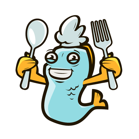 Happy fish holding spoon and fork. Ilustrace