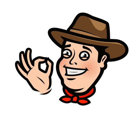 Funny cowboy or happy farmer in the hat. Ilustrace