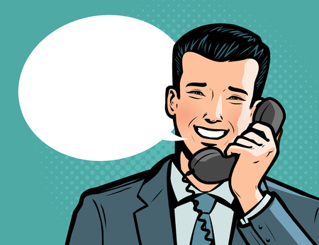 Businessman talking on the phone. Telephone conversation, call up concept. Illustration