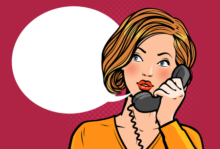 Girl or young woman talking on the phone. Telephone conversation. Illustration