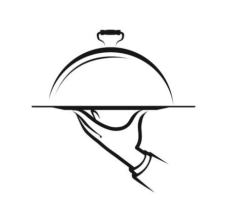 Logo ou étiquette du restaurant. Menu, symbole de service alimentaire. Logo