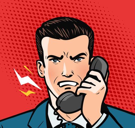 hombre enojado hablando por teléfono. concepto de negocio. Estilo de cómic retro pop art Ilustración de vector