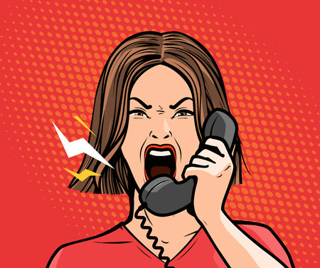 angry girl or young woman screaming into the phone. Pop art retro comic style. Cartoon vector