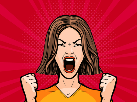 girl or young woman screaming out loud. Pop art retro comic style