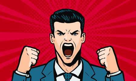 man screaming loudly. Cartoon in pop art retro comic style, vector