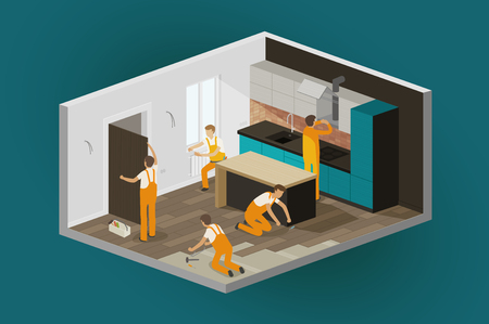 renovation interior, Home repair. construction isometric vector