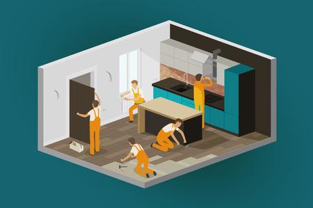 Renovierung Interieur, Reparatur zu Hause. isometrischer vektor der konstruktion Vektorgrafik