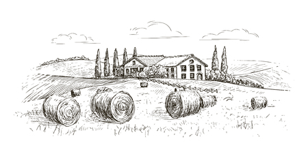 paesaggio rurale, schizzo del villaggio. fattoria, illustrazione vettoriale vintage isolato su sfondo bianco