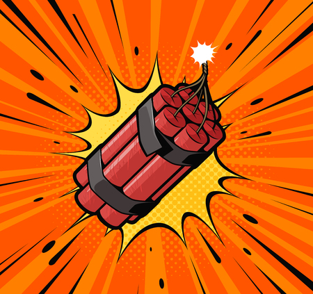 Dynamite bomb explosion with burning wick detonate. Retro pop art style.
