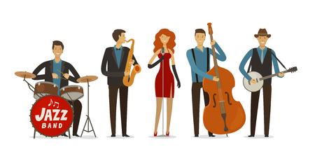 Jazz band. Blues music, musical festival concept. Ilustração