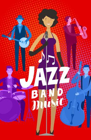 jazz band poster. musical festival, live music. cartoon vector illustration 일러스트