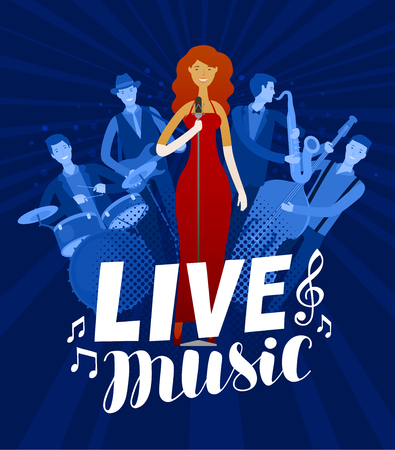 live music poster. musical festival, concert concept. vector illustration