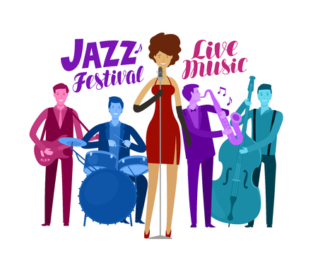 jazz festival. live music, performance concept cartoon vector Illusztráció