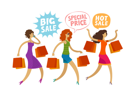 Shopping. clearance sale, fashion concept. People, girls run to the store.