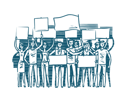 crowd of people protesters. revolution, conflict, Protest concept sketch vector