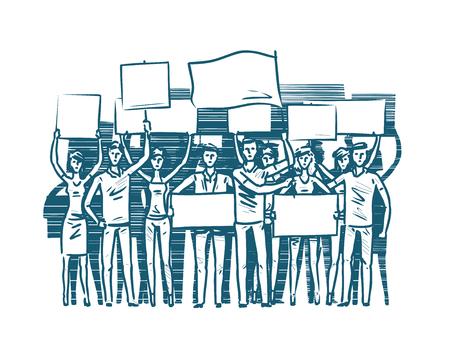 folla di manifestanti. rivoluzione, conflitto, vettore di schizzo del concetto di protesta Vettoriali