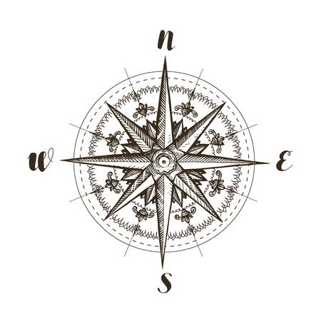 Compass wind rose, vintage. Ilustrace