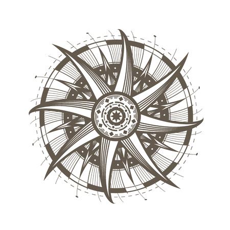 mandala, sun symbol. Decorative round ornament. vintage vector illustration isolated on white background