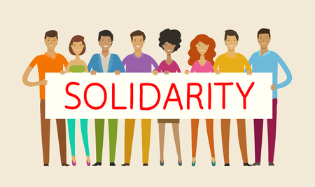 people holding blank banner. solidarity, cohesion, unity concept vector