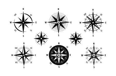 Compass, wind rose icon set. Marine navigation symbol.