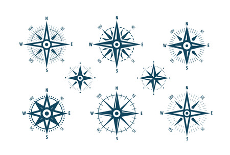 Compass icon set. Marine navigation, wind rose symbol.