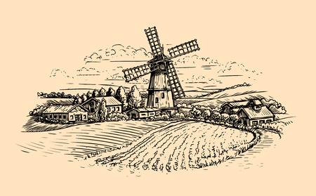 Rural landscape sketch. farm, windmill and field. vintage vector