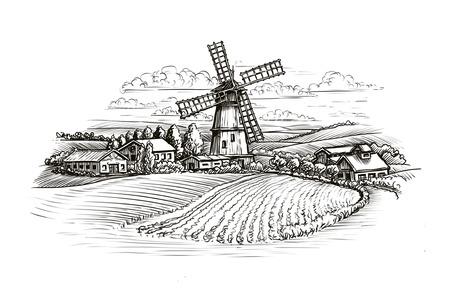 Rural landscape sketch. Farm, windmill and field. Vintage illustration