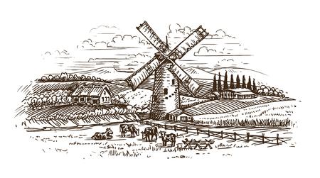 Ländliche Landschaft, Dorfskizze. Vintage-Vektor-Illustration isoliert auf weißem Hintergrund