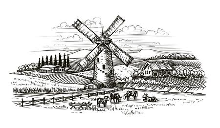 Rural landscape, village sketch. Agriculture, farming vintage Reklamní fotografie