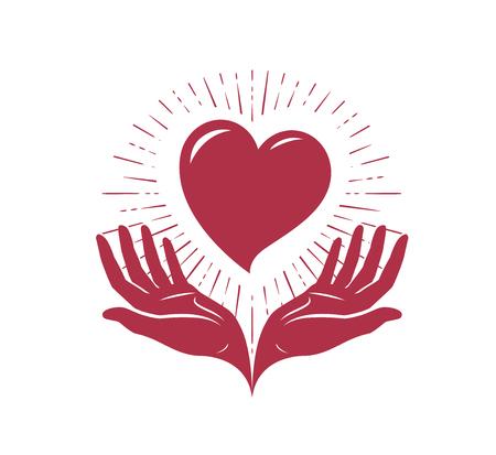 Heart in hands, logo. Love, charity label or symbol. Vector illustration