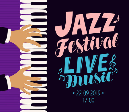 jazz festival poster. live music, concert, blues concept vector illustration Stock Illustratie