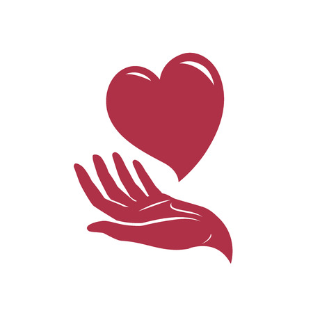 heart in hand logo. health, care, love symbol or icon. vector illustration isolated on white background