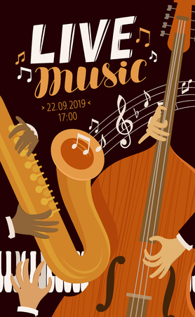 live music placard. Blues, jazz, musical festival concept vector Stock Illustratie