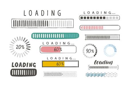 Progress loading bar, set of icons. load symbol. hand-drawn sketch vector isolated on white background Vektoros illusztráció