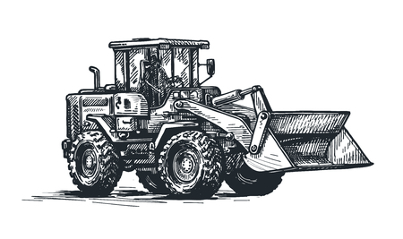 tractor, bulldozer sketch. Excavation work, heavy construction vehicles. hand drawn vector