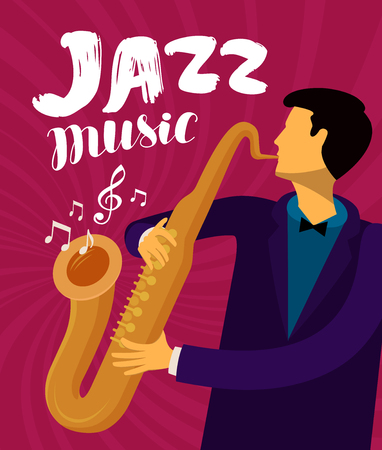 Jazz music. Musician plays the saxophone.