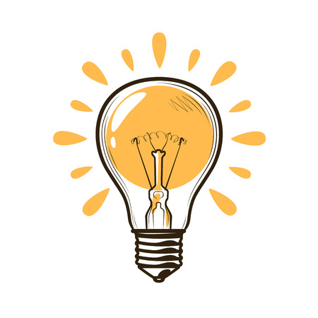 Light bulb, bulb. Electricity, electric light, energy concept. Ilustrace