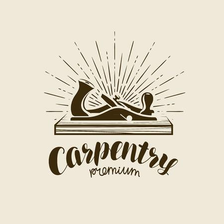 Carpentry logo or label. Workshop, woodwork, joiner plane symbol.
