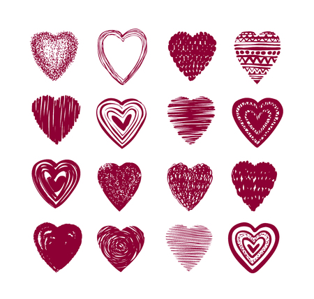 Red heart set of icons. Love, valentine, romance symbol or label.