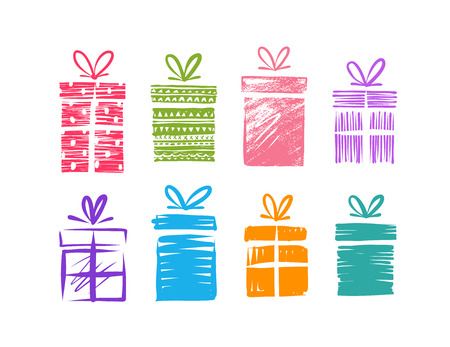 Gift boxes with bow, set of icons.