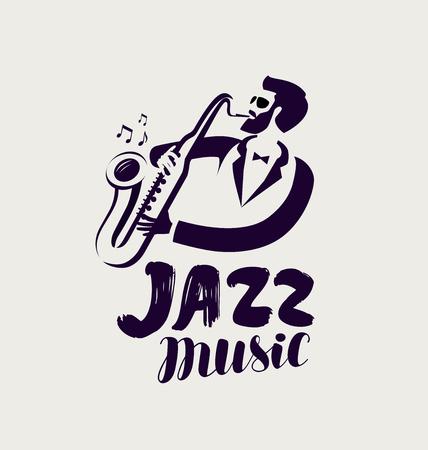 Logo ou étiquette de jazz. Musique live, symbole du festival musical.