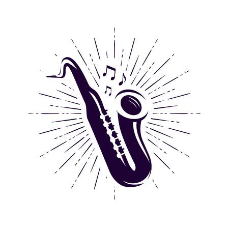 Saxophone, sax logo or label. Live music, jazz, blues symbol. Ilustrace